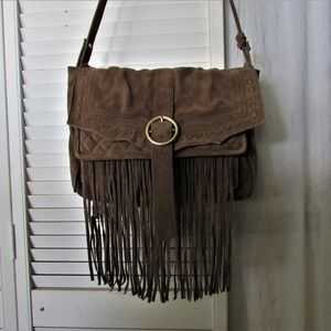 Genuine suede leather tan fringe handbag 13X9